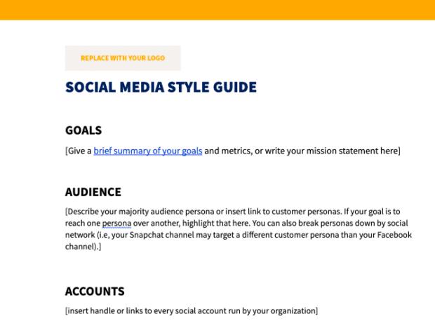 Предварительный просмотр шаблона руководства по стилю в социальных сетях