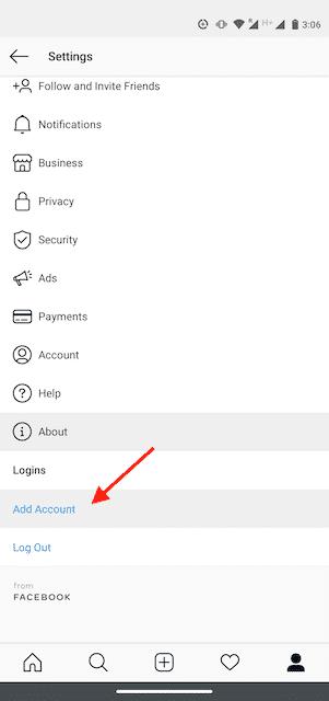 Кнопка «Добавить учетную запись» в приложении Instagram