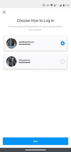 Возможность «Выбрать способ входа» в Instagram