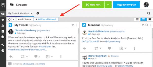 Кнопка для добавления другой социальной сети в Hootsuite