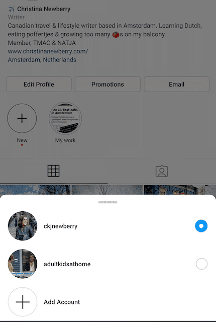 Средство выбора учетной записи Instagram