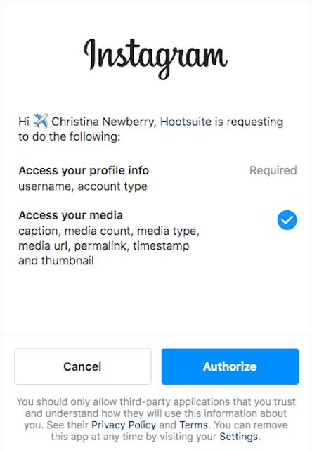 Кнопка авторизации учетной записи Instagram в Hootsuite