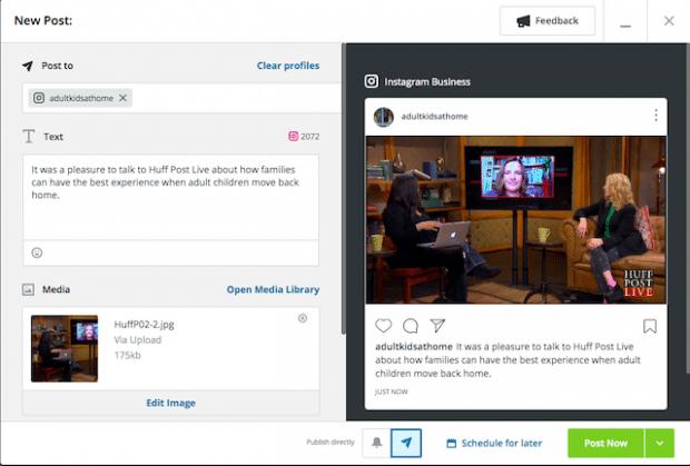 Возможность запланировать публикацию в Instagram или опубликовать сейчас в Hootsuite