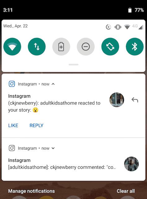 Уведомление Instagram