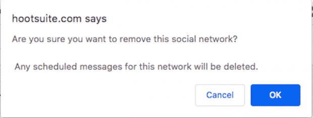 Окно для подтверждения того, что вы хотите удалить социальную сеть из Hootsuite