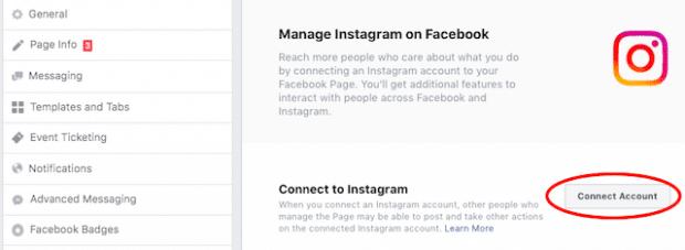 Кнопка для подключения к Instagram в Facebook