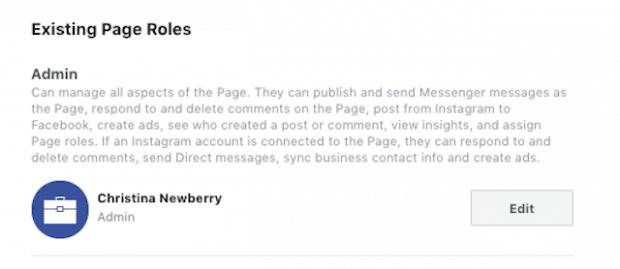Экран для управления администраторами Facebook
