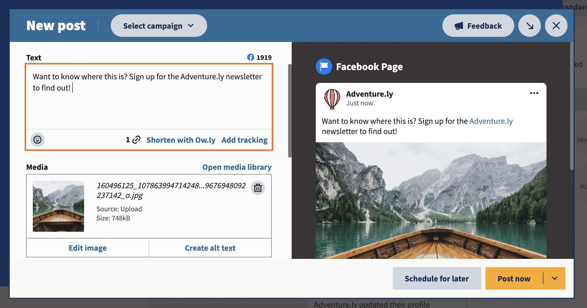 создать сообщение с текстовым изображением и ссылкой