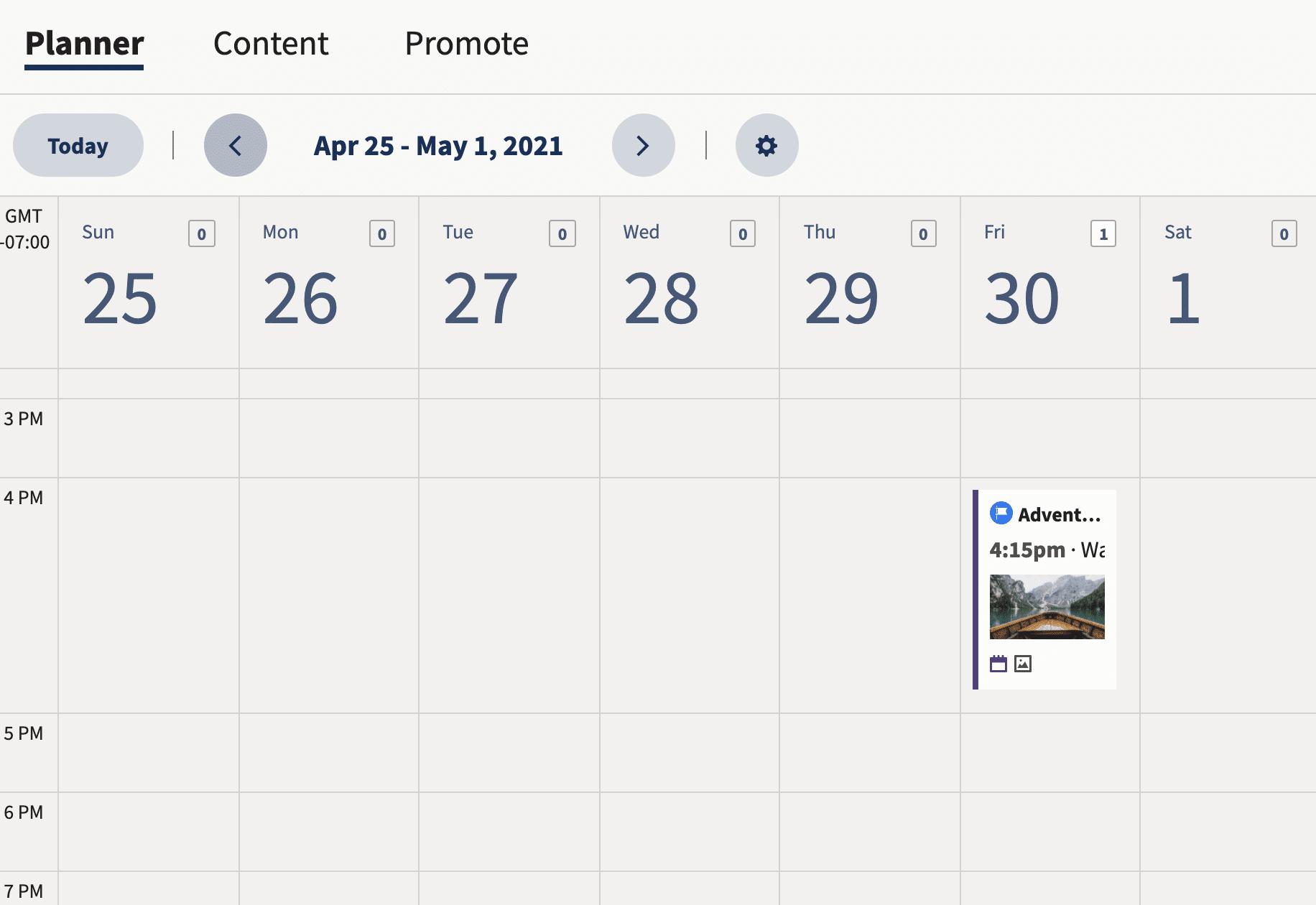 представление календаря планировщика