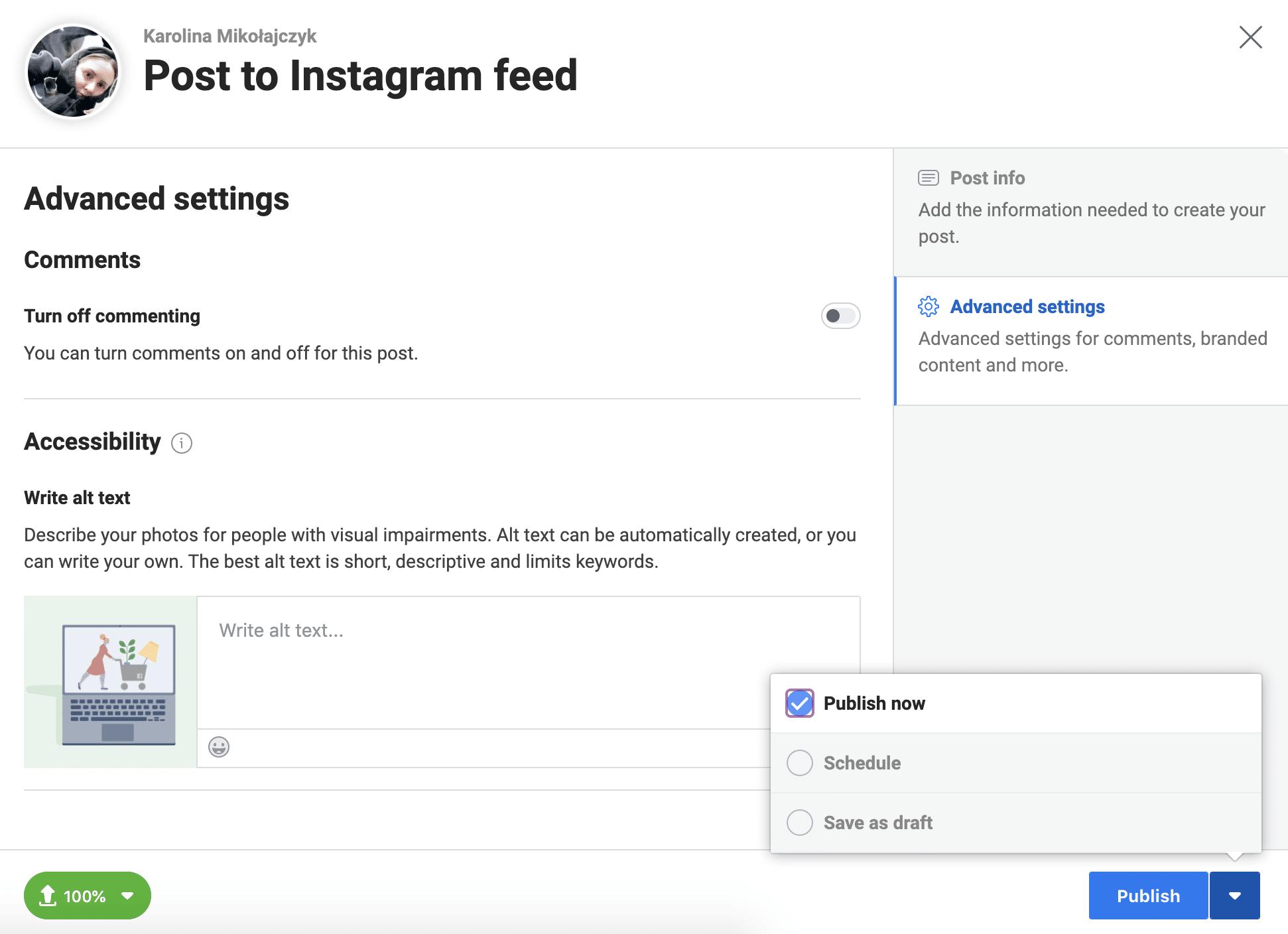 Расширенные настройки Instagram Creator Studio