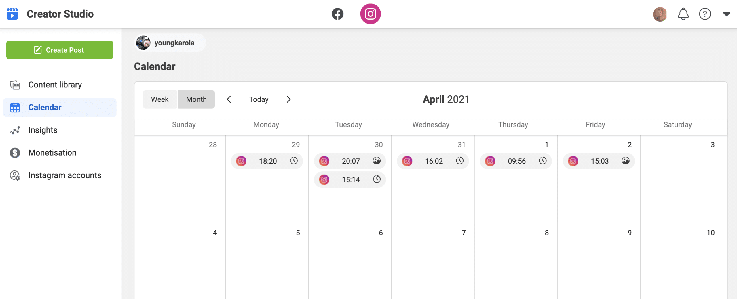Календарь Instagram Creator Studio