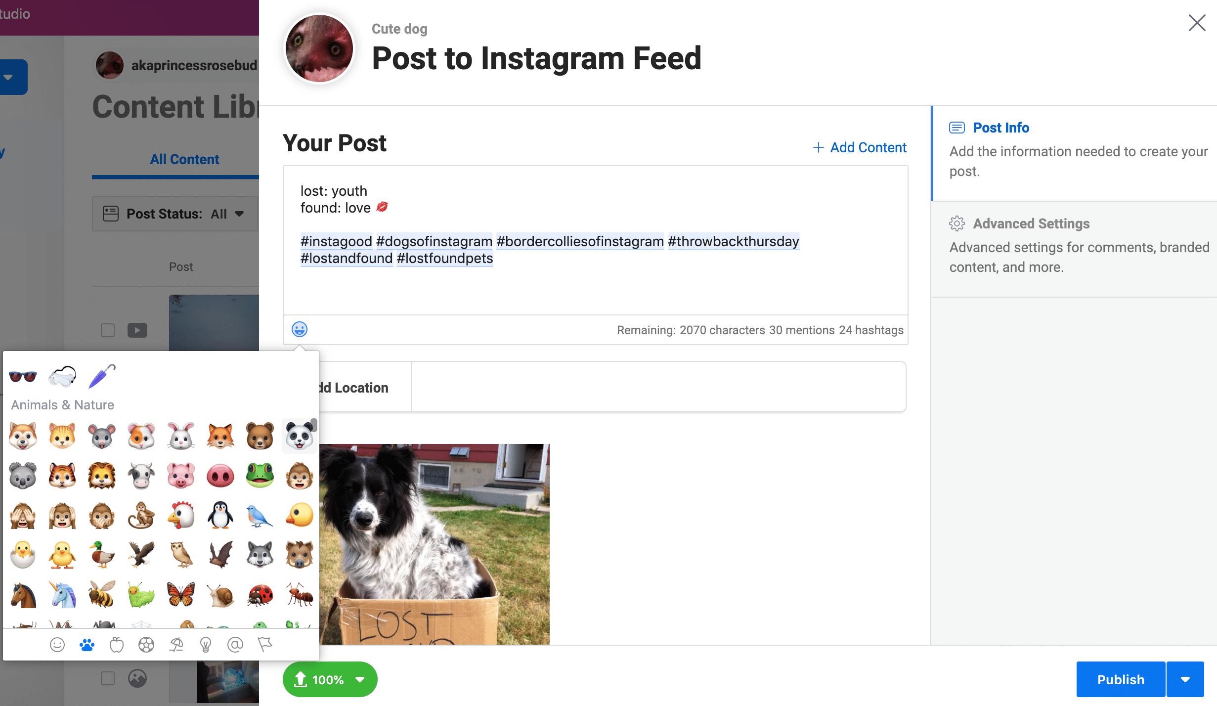 Использование Creator Studio для планирования публикаций в Instagram: параметры смайликов