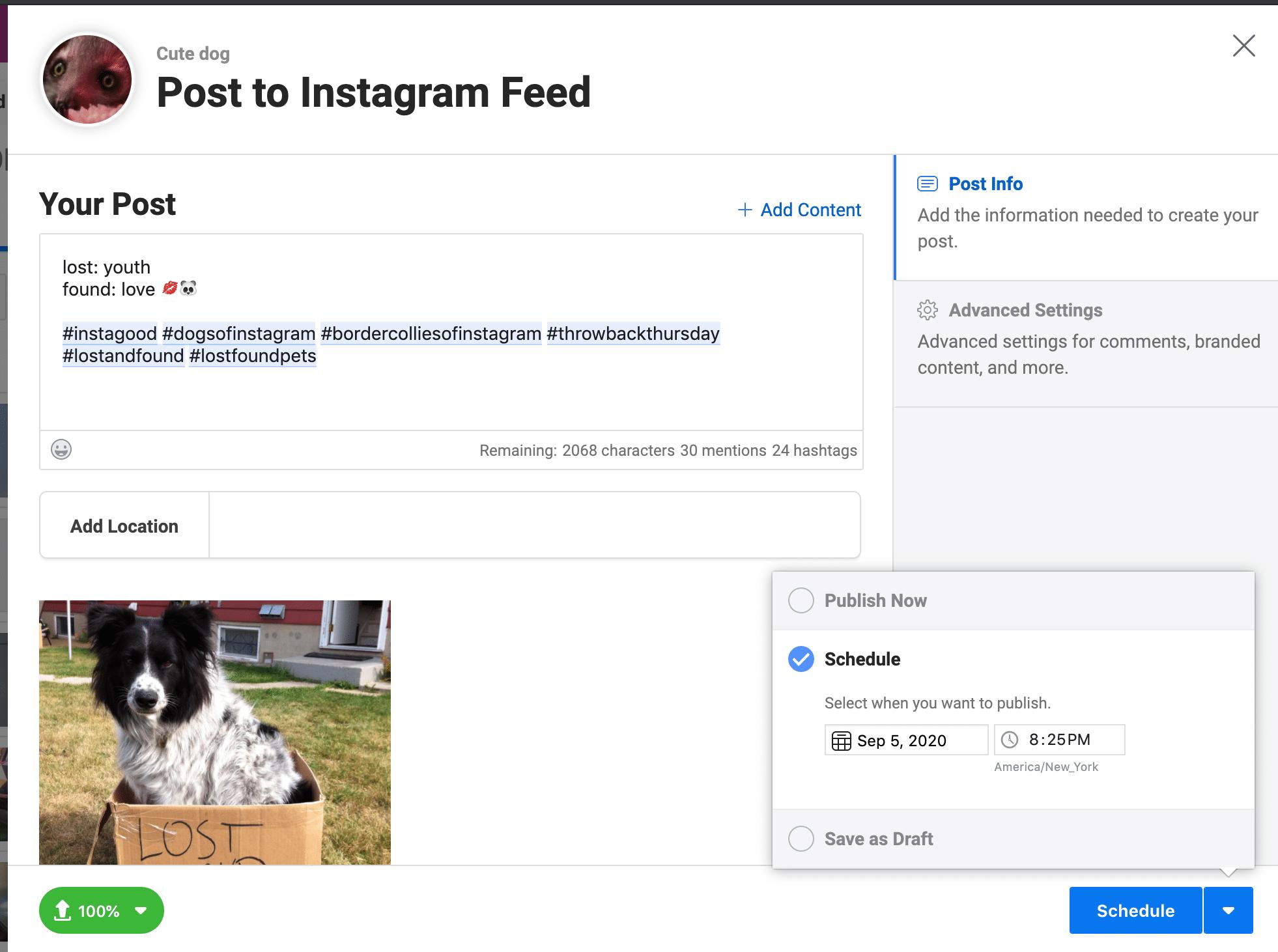 Планируйте публикации Instagram в Creator Studio