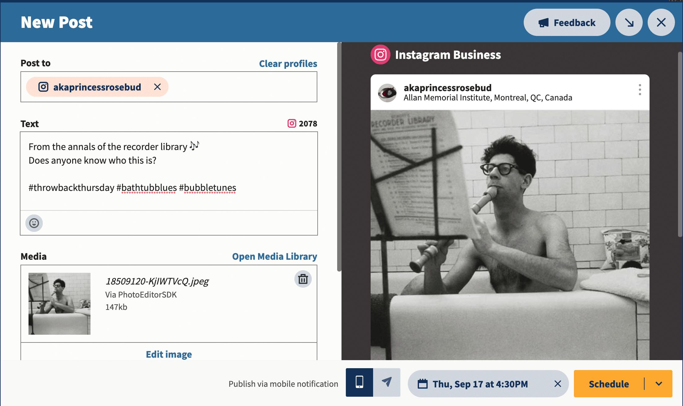 Hootsuite загрузить изображения или выберите из библиотеки содержимого