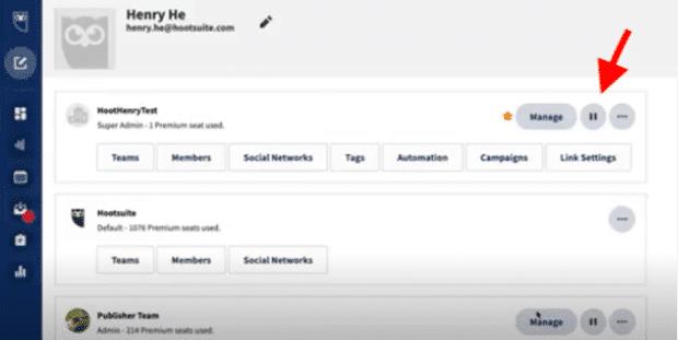 Кнопка паузы на панели управления Hootsuite