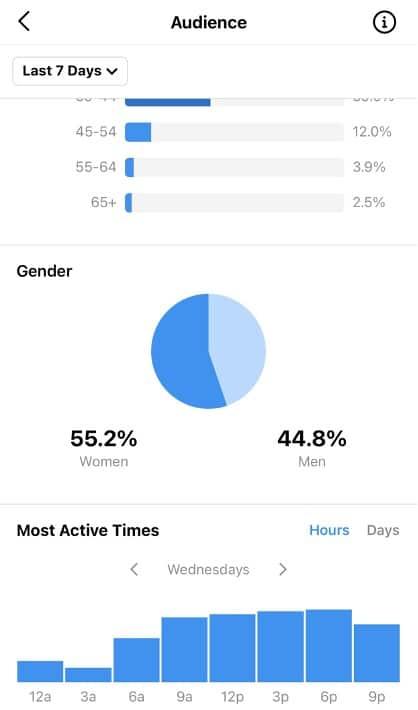 статистика аудитории наиболее активное время