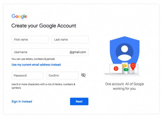 создать страницу учетной записи Google