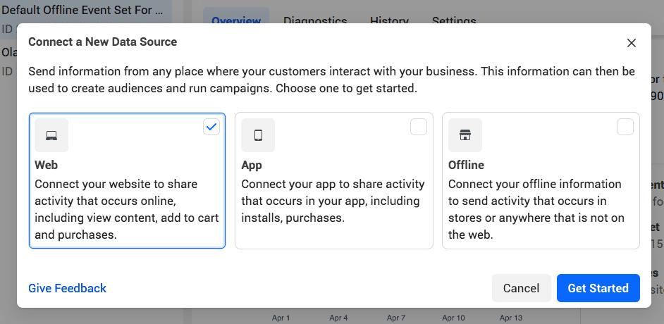 Менеджер событий Facebook подключите новый веб-источник данных