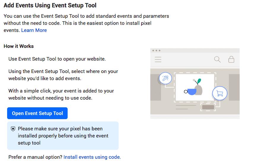 добавьте события с помощью инструмента настройки событий