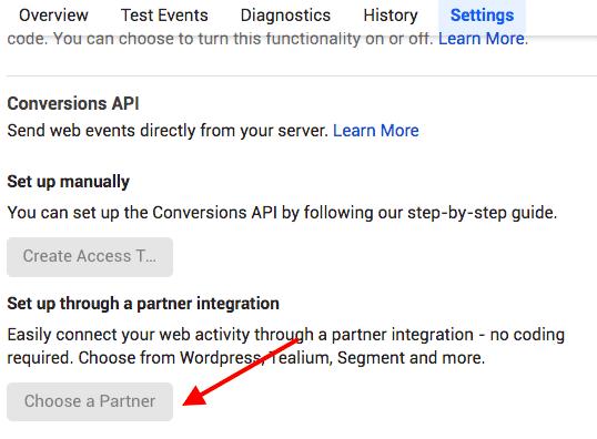 API конверсий выберите партнера