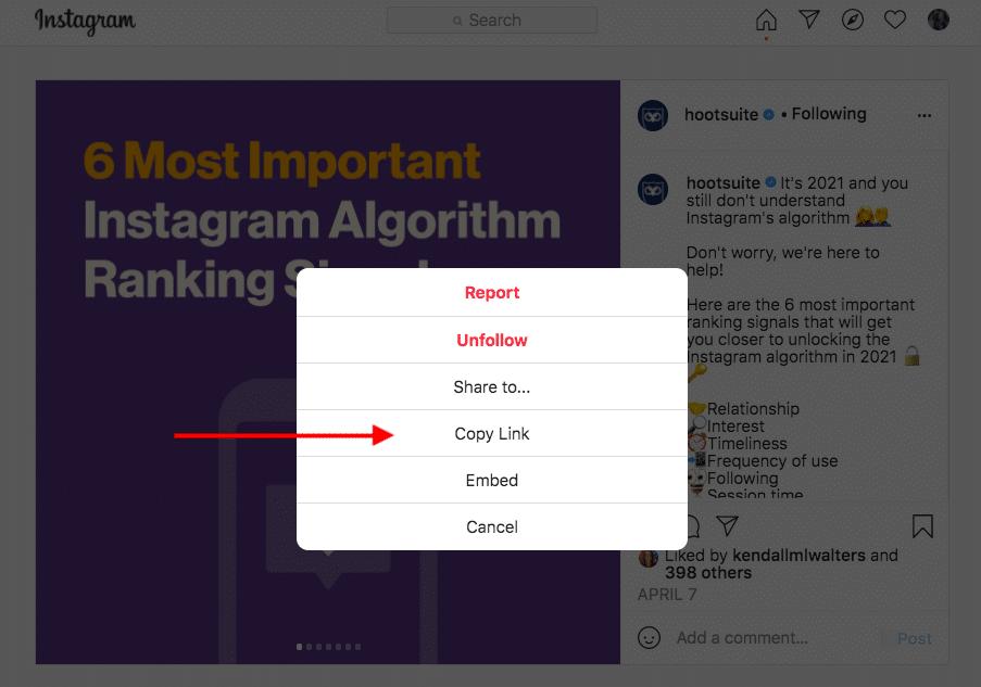 скопируйте ссылку в Instagram
