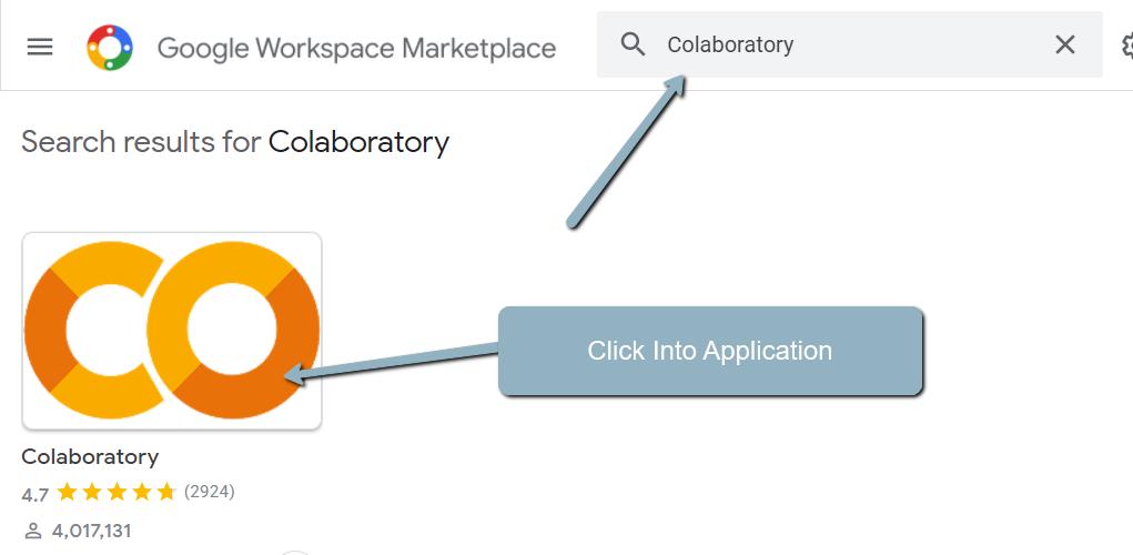 Найдите Colaboratory и щелкните на странице приложения