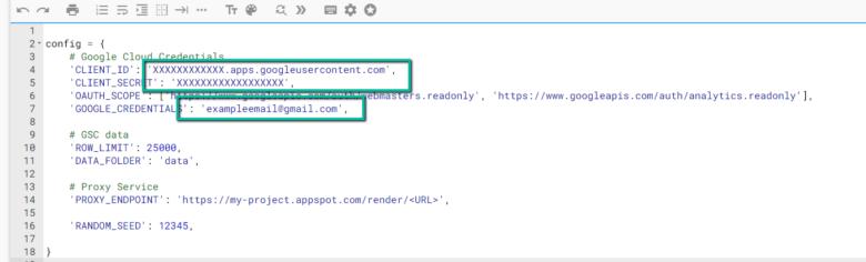 . Обновите CLIENT_ID. В процессе настройки идентификатора клиента OAuth 2.0, CLIENT_SECRET из процесса установки идентификатора клиента OAuth 2.0 и адрес электронной почты GOOGLE_CREDENTIALS, соответствующий с вашими CLIENT_ID и CLIENT_SECRET