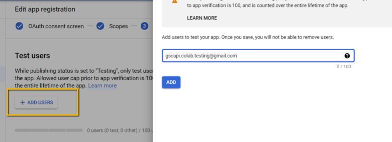 Добавьте электронные письма, которые вы будете использовать для аутентификации API Search Console, в Test Users