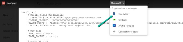 Выберите открытие с помощью текстового редактора, чтобы изменить файл config.py