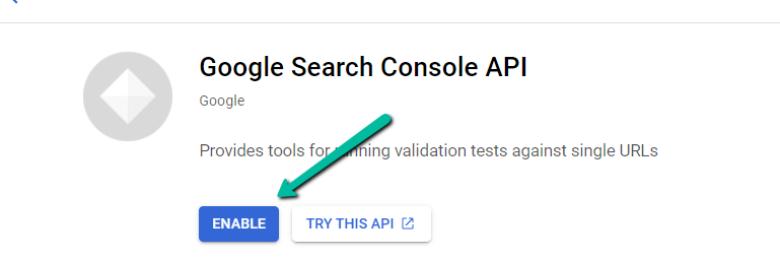 Нажмите «Включить» в GSC API