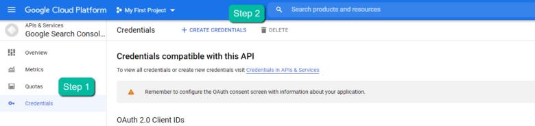 В левой навигационной панели нажмите «Учетные данные», затем СОЗДАТЬ УЧЕТНЫЕ ДАННЫЕ, затем ИД клиента OAuth [19659010] 5. В форме «Создать идентификатор клиента OAuth» заполните: </p> <olstyle=