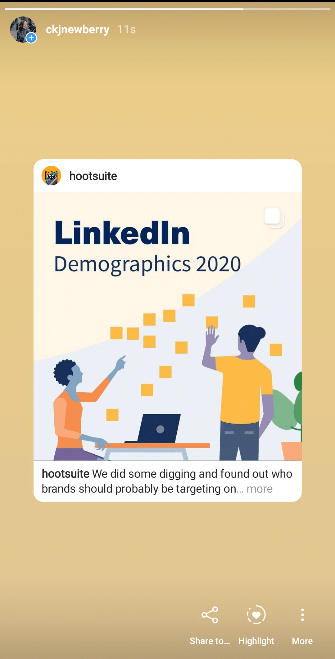 История Hootsuite LinkedIn demographics re -share