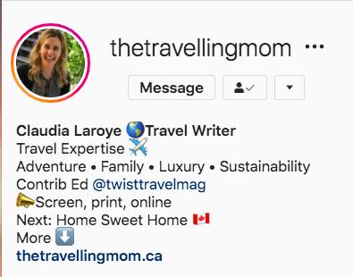 Ключевое слово в имени Traveling Mom в Instagram