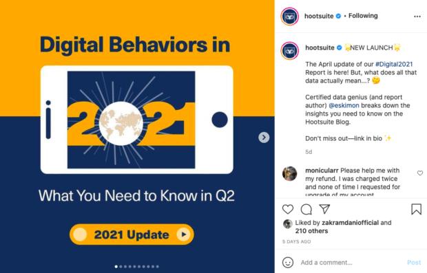 Сообщение Hootsuite в Instagram с пометкой партнера в подписи (как пример того, как получить больше подписчиков в Instagram)