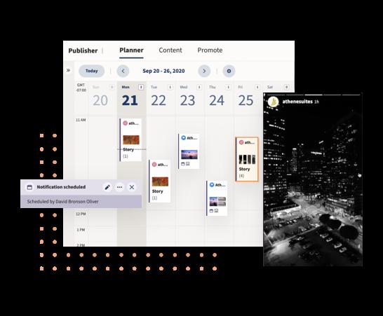 Hootsuite Planner показывает запланированный Instagram Рассказы
