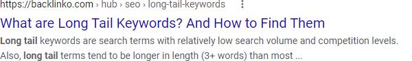 Google SERP для поисковой оптимизации с длинным хвостом -