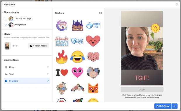 Создание истории в Instagram в Facebook Business Suite
