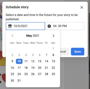 Выбор даты и времени для планирования истории Instagram