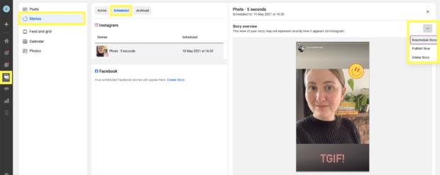 Просмотр и управление запланированными историями Instagram в Facebook Business Suite