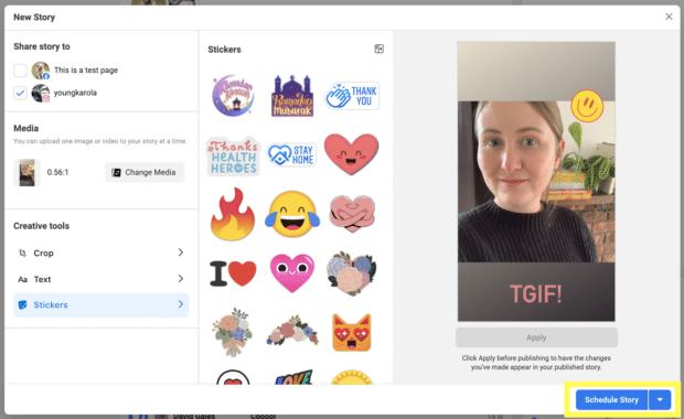 Планирование истории Instagram в Facebook Business Suite