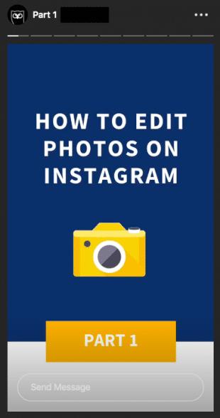 Снимок экрана шаблона Instagram Stories, который использует Hootsuite