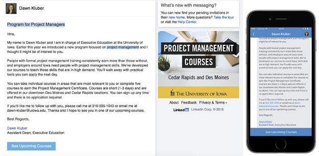Программа сообщений LinkedIn для менеджеров проектов