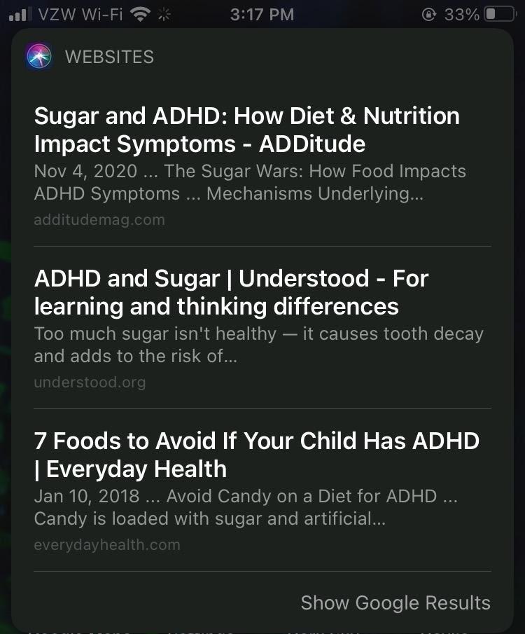 Снимок экрана результатов поисковой выдачи Safari на мобильных устройствах по запросу сахара.