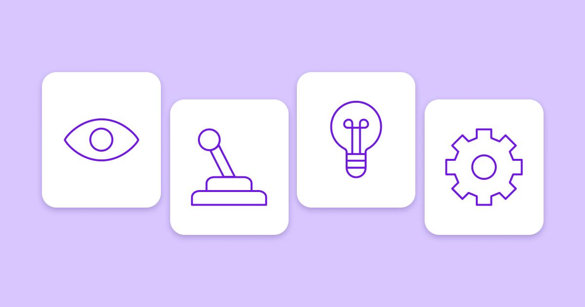 Четыре белых прямоугольника на фиолетовом фоне, каждый из которых содержит одну из четырех иллюстраций: глаз, джойстик, лампочку и шестеренку.