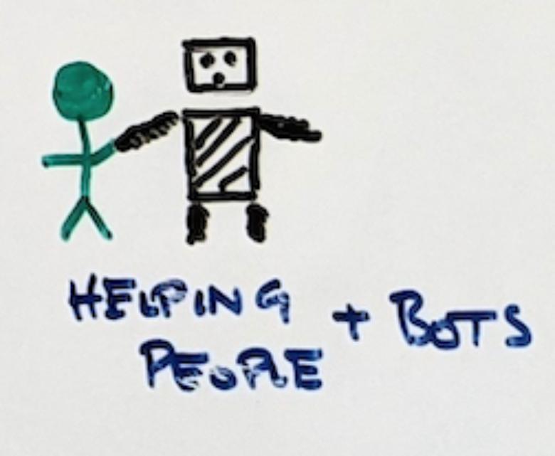 Ручной рисунок фигурки, держащей за руку робота. «Помощь людям + боты».
