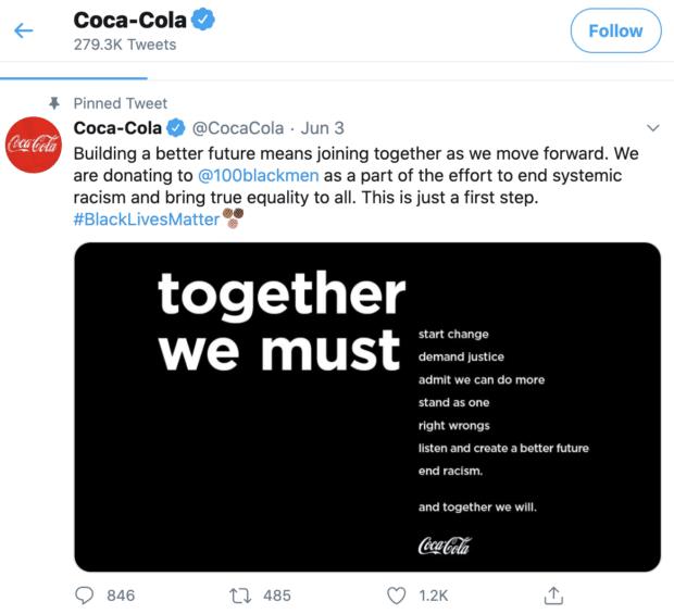 Coca Cola, участвующей в движении Black Lives Matter