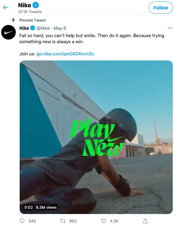 Закрепленный твит на странице Nike в Twitter с видео с