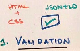 Фотография нарисованного вручную примера проверки JSON + LD.