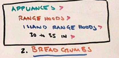 Фотография примера нарисованных от руки хлебных крошек.