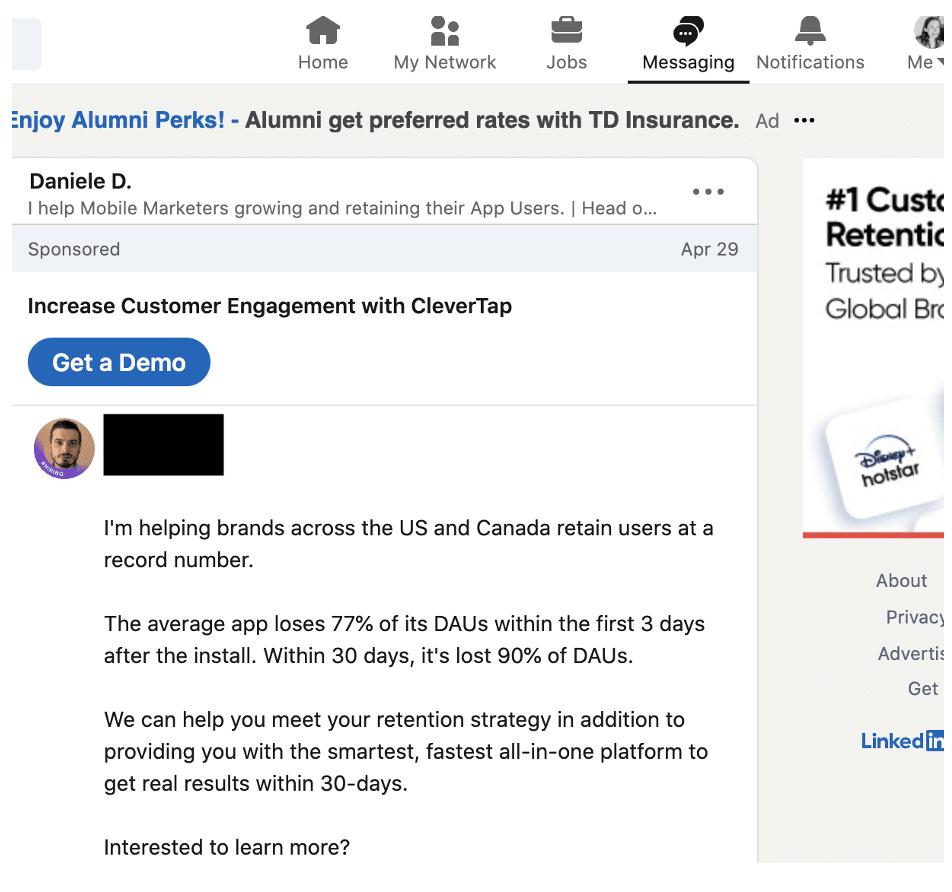 Прямое сообщение LinkedIn CleverTap